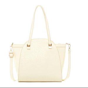 White Rose Embossed Handbag
